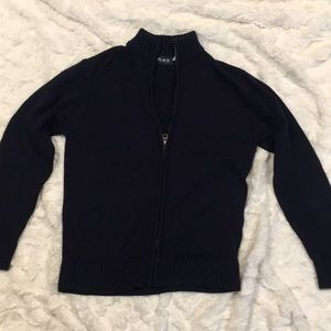 Children's Place navy blue zip up sweater. Large.